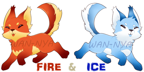 Pup Adopts: FIRE + ICE [CLOSED] by Wan-Nya