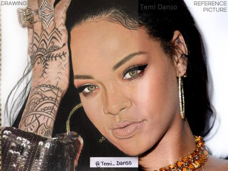 Rihanna Drawing vs Picture by MsTemmii