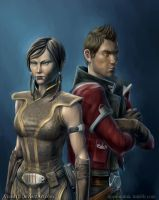 Theron and Satele Shan by Vixen11