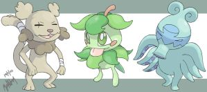 Chowl, Shrubble and Psysquid by Hallm3