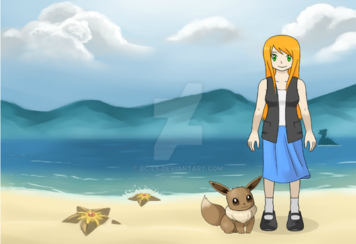 Point Commission - Emily at the beach with Eevee by BC-LS