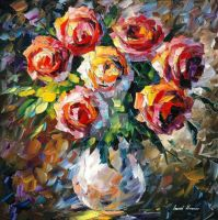 Lovely Flowers by Leonid Afremov by Leonidafremov