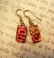 Fire Scale Fused Glass Earrings by FusedElegance
