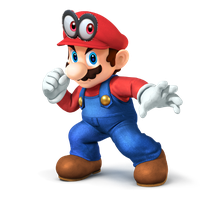 SSB4 Mario render with Super Mario Odyssey cap by PopCultureCorn