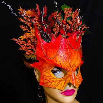 Autumn Floral Crown Renaissance Mask by aGrimmDesign