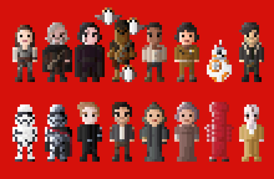 Star Wars The Last Jedi Characters 8 Bit by LustriousCharming