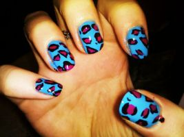 Blue and pink leopard nails by Chelseapoops