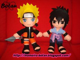 Naruto and Sasuke plush version by Momoiro-Botan