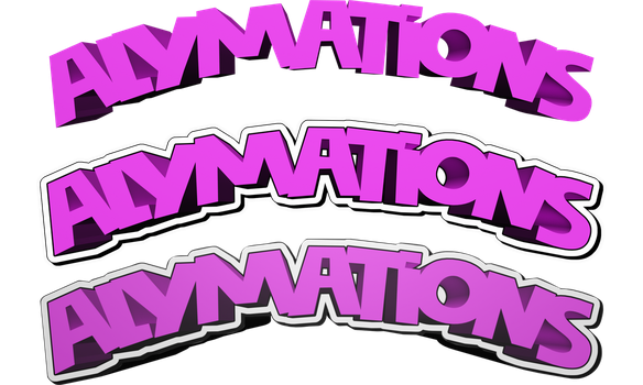 Alymations - Logo - Pink 3D Wip - 3 Versions - PNG by TheToxicDoctor