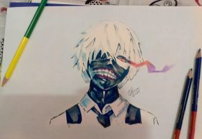 Colored Pencils And Copics - Kaneki Ken by chedil