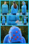 Baked bean blue hooded pullover by KnitLizzy