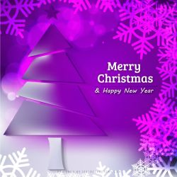Purple Christmas Background with Tree, Snowflakes by 123freevectors
