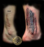 Cover scar muscle tattoo by 2Face-Tattoo