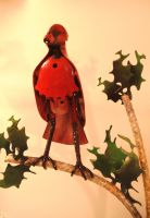 Cardinal And Holly Detail by SeurAaron