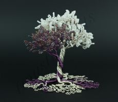 Purple white and silver bead and wire tree sculptu by Twystedroots