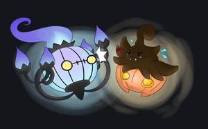 Chandelure and Pumkaboo by flying-bagel