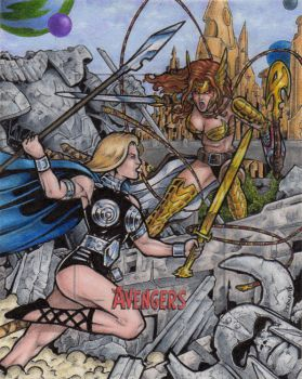 Valkyrie vs. Angela - Marvel Silver Age by tonyperna