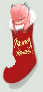 xmas Pink Sock Monster coppout by joverine