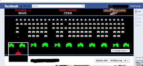 Space Invaders Facebook Timeline by W1CK3DMATT