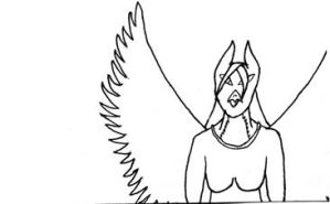 Winged Woman -- BW by samiitiger