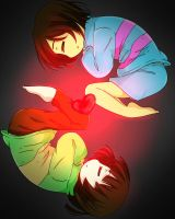 Frisk and Chara ( sharing the same soul ) by Rayreid