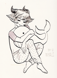 Inktober day 12: Whale by louverusee