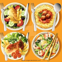 International Food Plates by the9th-angel