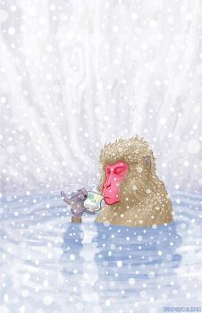 Snow Monkey Drinking Hot Tea 1 by McQuade