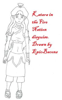 Fire Nation Katara line art by EpicBacons