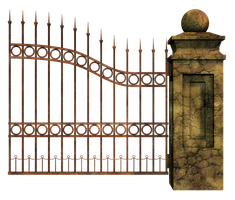 Graveyard Gate Right 2 PNG Stock by Roy3D