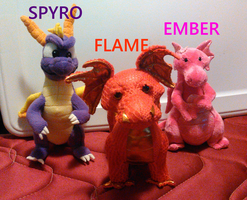 Spyro, Flame, and Ember Plush Photo by TwistedDarkJustin