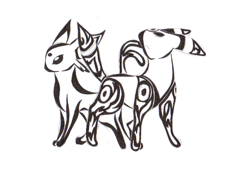 Umbreon and Espeon Tribal by Raven-the-Nyx
