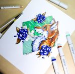 3 Marker Challenge - Blue Roses and Green Skies by Artistlizard101