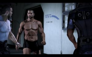 Mass Effect 3 - Male Shepard in Boxers by Revan654