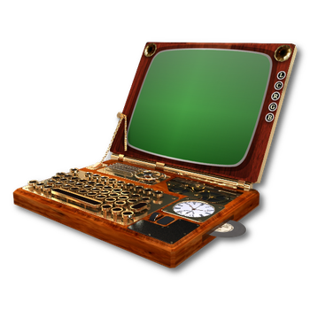 Steampunk Victorian Laptop Icon Mk3 by pendragon1966