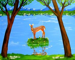 DEER BAMBI SOLO PAINTING by TEOFAITH