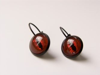 Earrings with hand painted glass, dragon eye by OkeMani