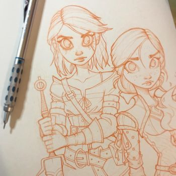 Ciri and Triss WIP by ChrissieZullo