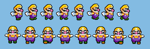 Custom Wario Run Sprites by kirbyfan88