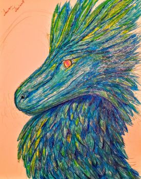 Blue Feathered Dragon by PantherPawCreations by PantherPawCreations