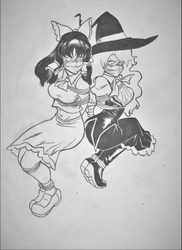 Reimu and Marisa by Guillaume-Smoot