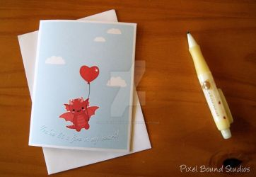 Chibi Dragon with Heart Balloon Valentine Card by pixelboundstudios