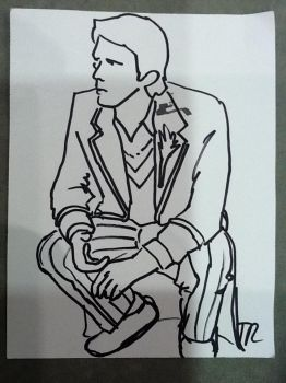 The Fifth Doctor Line Art by TaraRoys