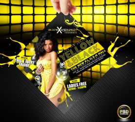 Yellow and Black Party Flyer Free PSD by Gallistero
