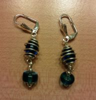 first blue bead earrings with wire cages by syn-O-nyms