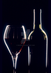Wine Glass and Bottle Dramatic Lighting by dworld