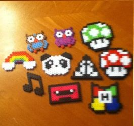 Perler bead creations by MinecraftMusic75