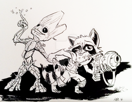Rocket and Groot by LytletheLemur