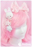 Pastel baby rabbit white Brooch and hairclip by CuteMoonbunny