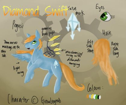 Diamond Swift(MLP OC reference) by GrowLegends